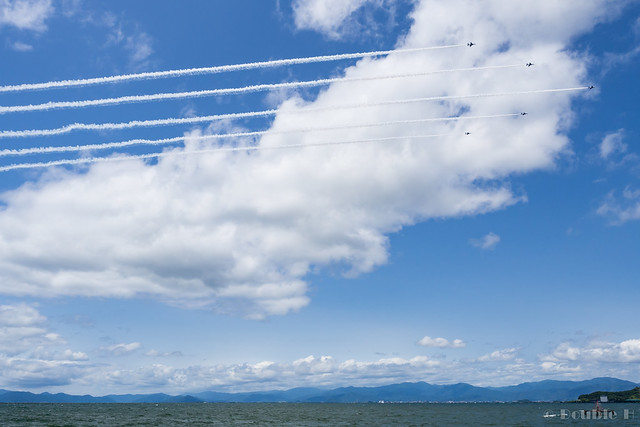 Blue Impulse's rehearsal flight for the 410th anniv. of Hikone Castle (5)