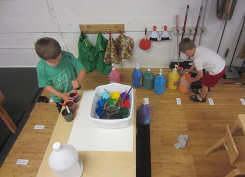 preparing the paints