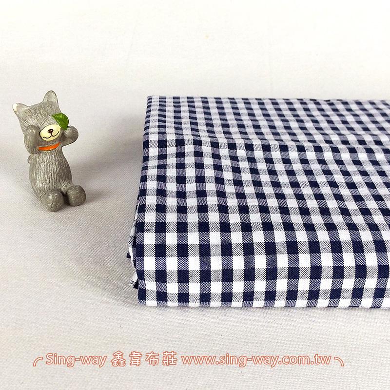 深藍灰白格紋 桌巾門簾 滾邊包邊 襯衫服裝布料 FC590272