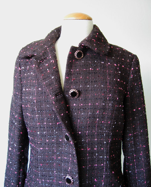 boucle coat front facing and buttons