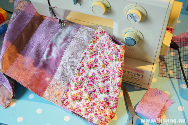 Sewing scraps together to make a purple table runner for a friend, photo and sewing by iHanna #quilting