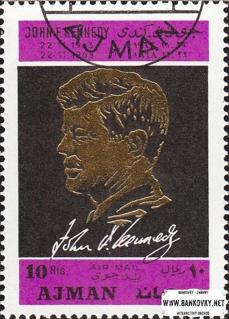 Známka Ajman 1968 John F. Kennedy, razítkovaná