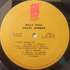 BILLY PAUL:EBONY WOMAN(LABEL SIDE-A)