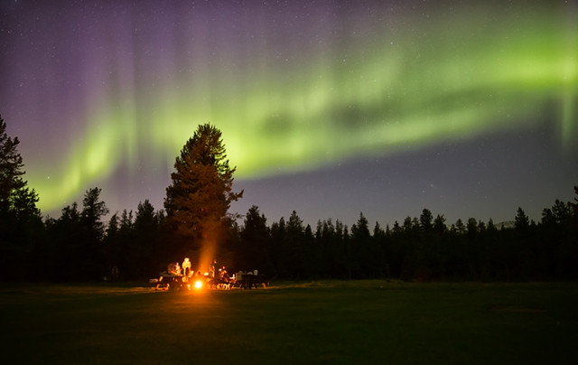 Campfire Beneath Northern Lights
