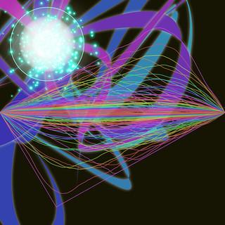 JS_Art_SS_(2017_05_25)_3_Cropped_1 HTML5インタラクティヴ ジェネレーティヴ ディジタル アートのスクリーンショット画像。 黒い背景の上に1つの光の円盤がある。 光の円盤からは 眩しく光り輝く青緑色の粒子が多数放出されされる寸前の状態であり、青色や紫色のリボンのような曲線が多数くねりながら放射されている。 光の円盤の周囲には青緑色の光輪がある。 画面中央には色とりどりの細い紐が数多く半時計回りに傾いた平行四辺形状にやや波打ちながら描かれている。