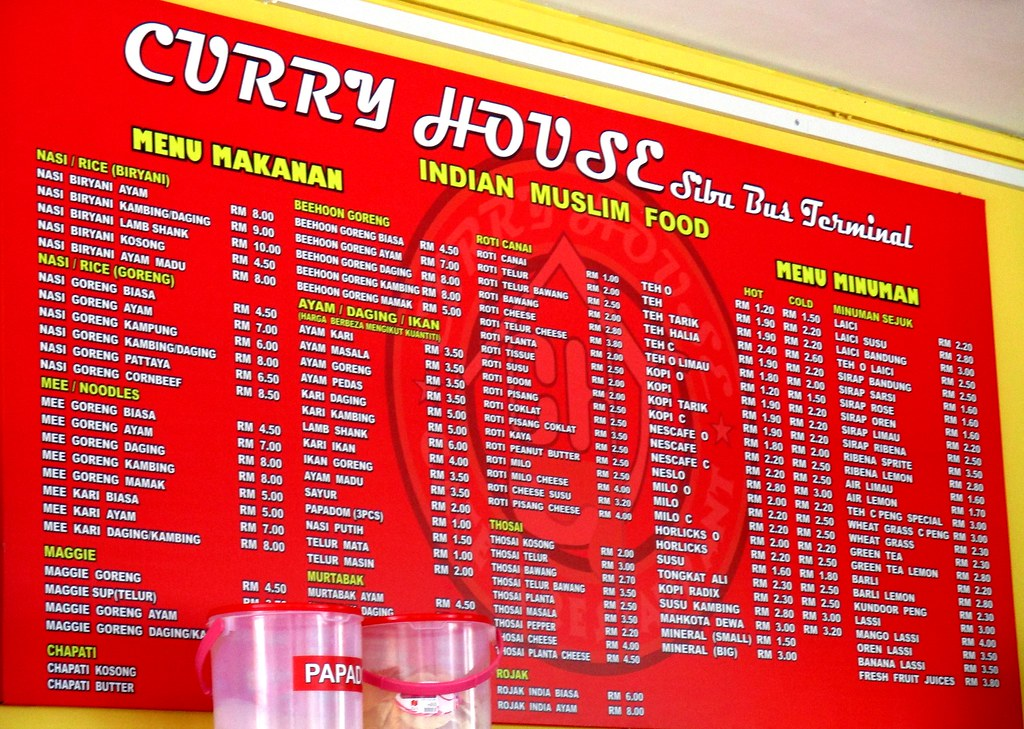 Curry House menu on the wall