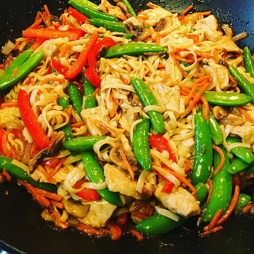 Pork stir fry with udon noodles