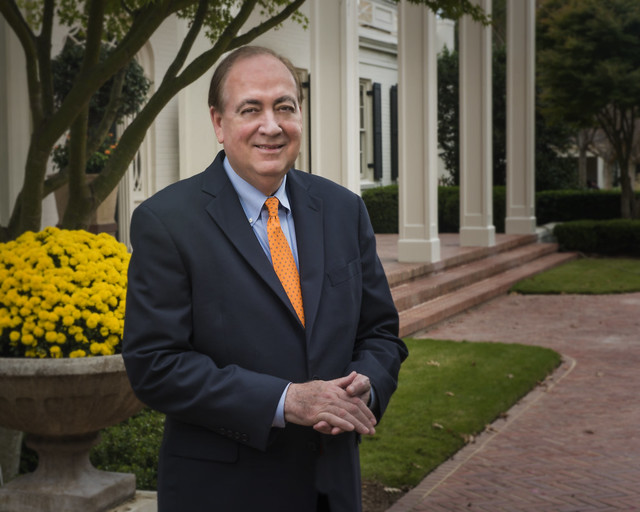 President Jay Gogue stands in front of Katharine Cooper Cater Hall