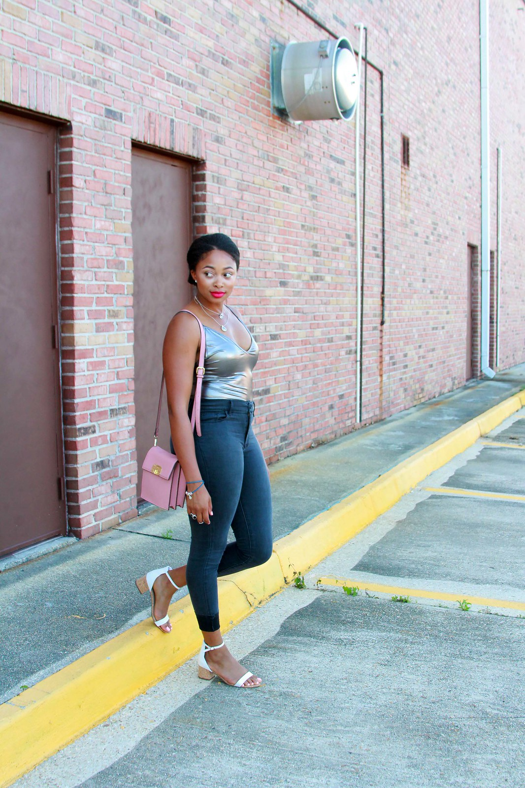 how to style a metallic bodysuit, candace hampton