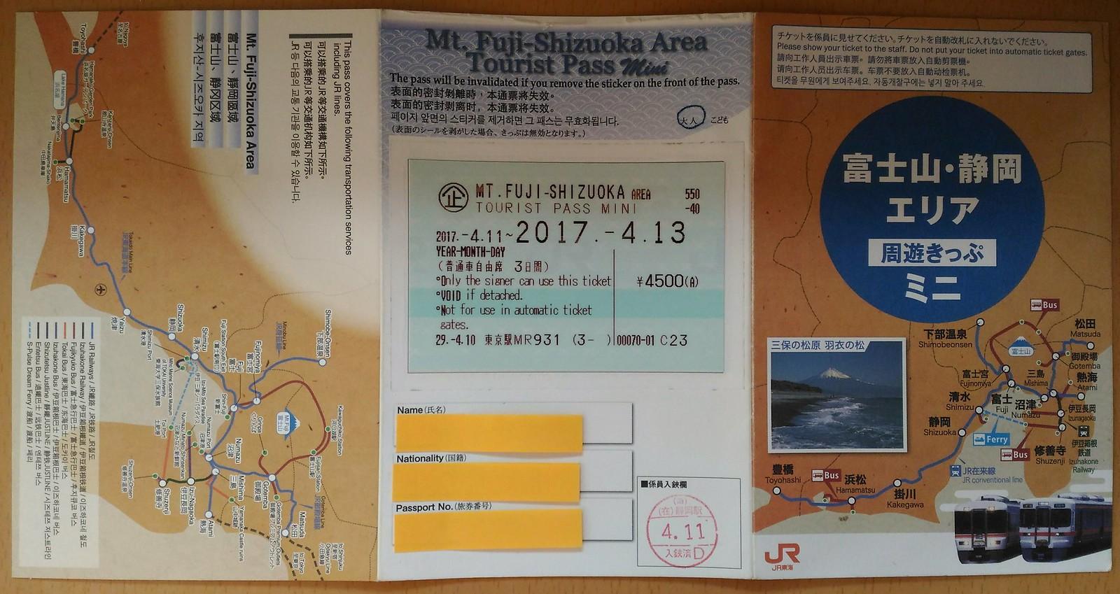 Jr Passmini Maptabi Mount Fuji Shizuoka Tourist Pass Mini 3 Days 2017 06 04 03 18 37