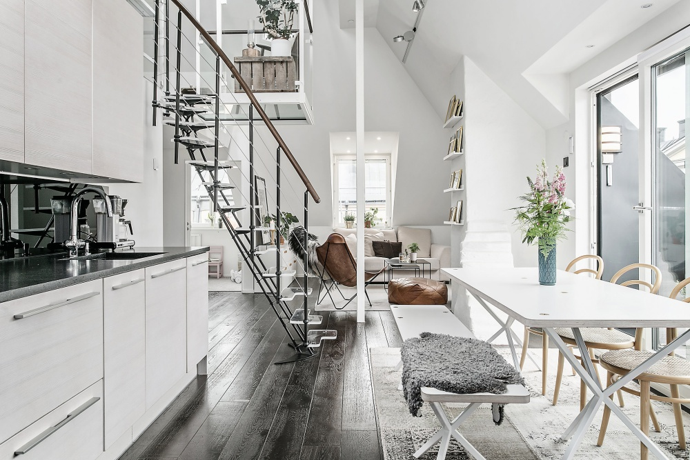 White Scandinavian Two Storey Studio Apartment