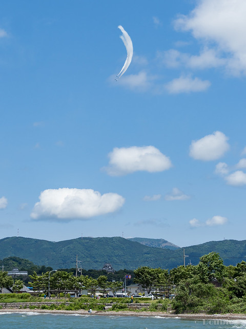 Blue Impulse's rehearsal flight for the 410th anniv. of Hikone Castle (25) Diamond 360 Turn