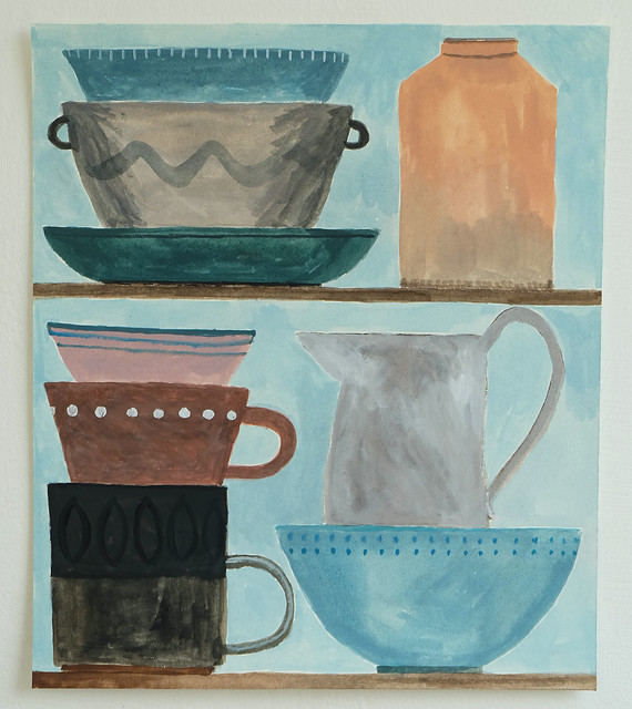 still life with blue bowl and stacked cups