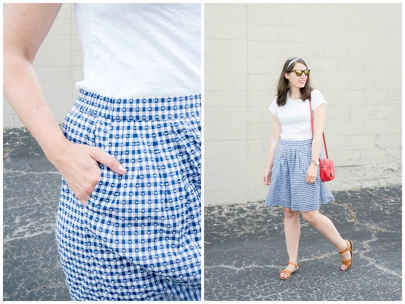 blue J.Crew gingham skirt + white tee + red crossbody purse; fourth of july outfit summer   Style On Target blog