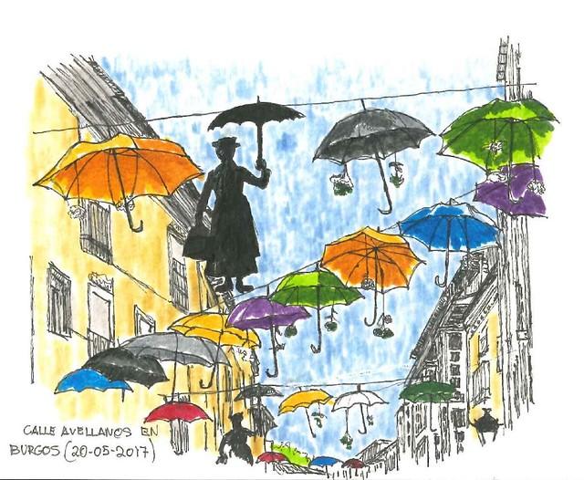 Burgos. Calle Avellanos decorada