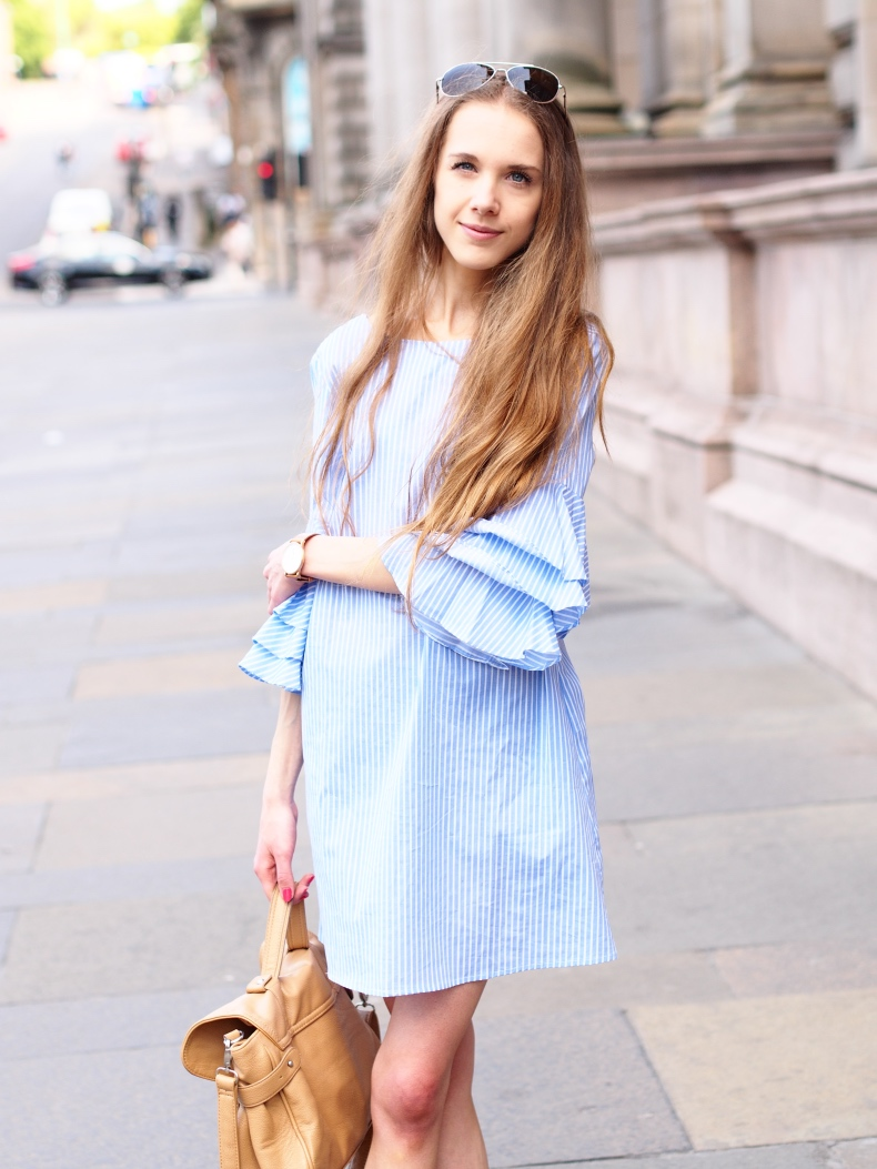 Striped Zara Dress with Ruffles