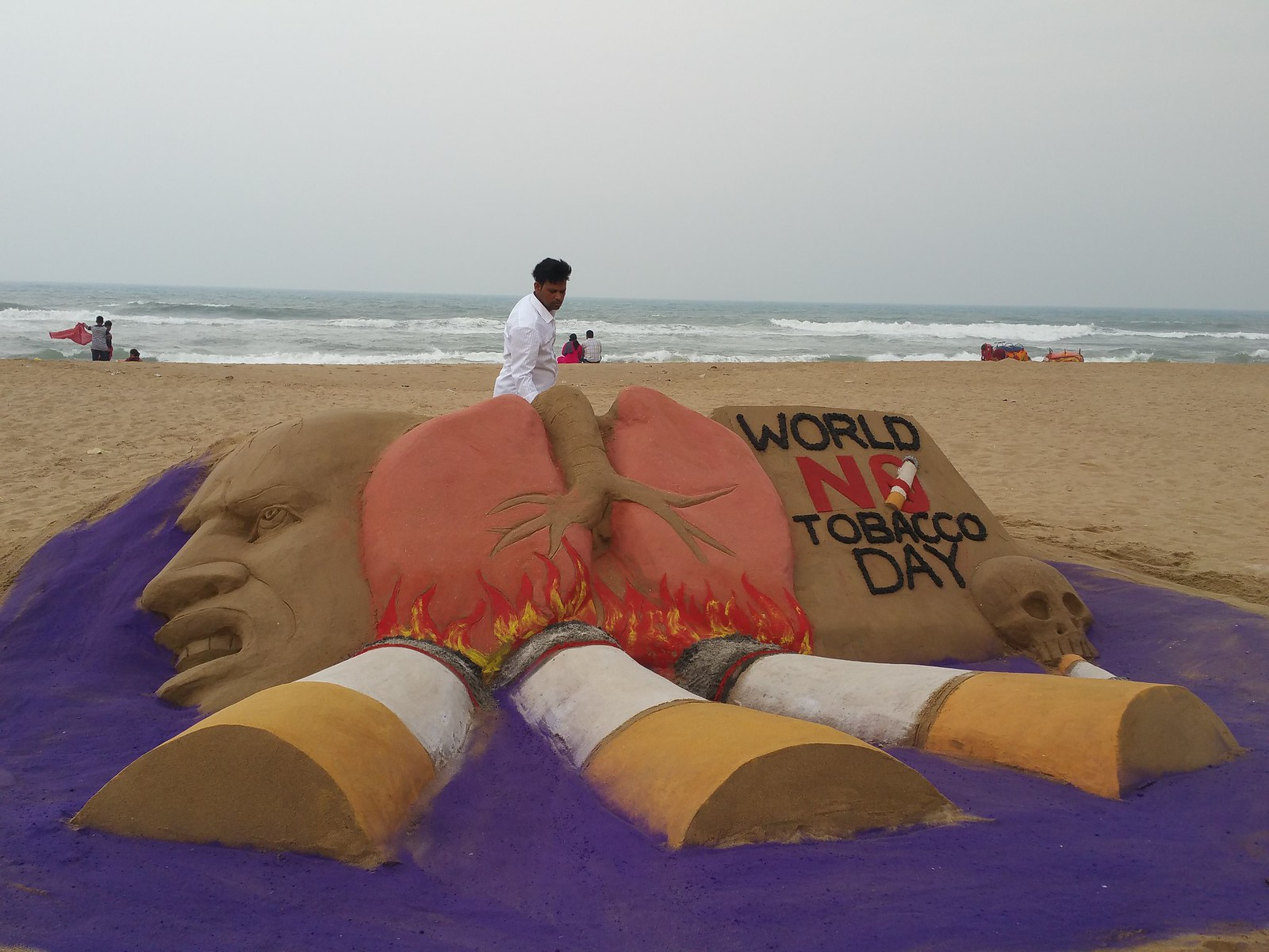World No Tobacco Day Sand Art at Puri Beach
