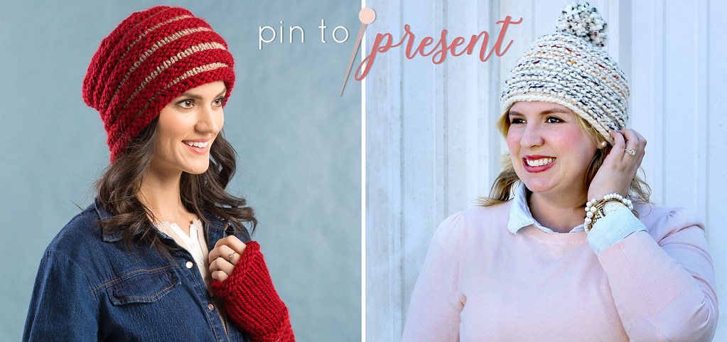 knit beanie pin to present