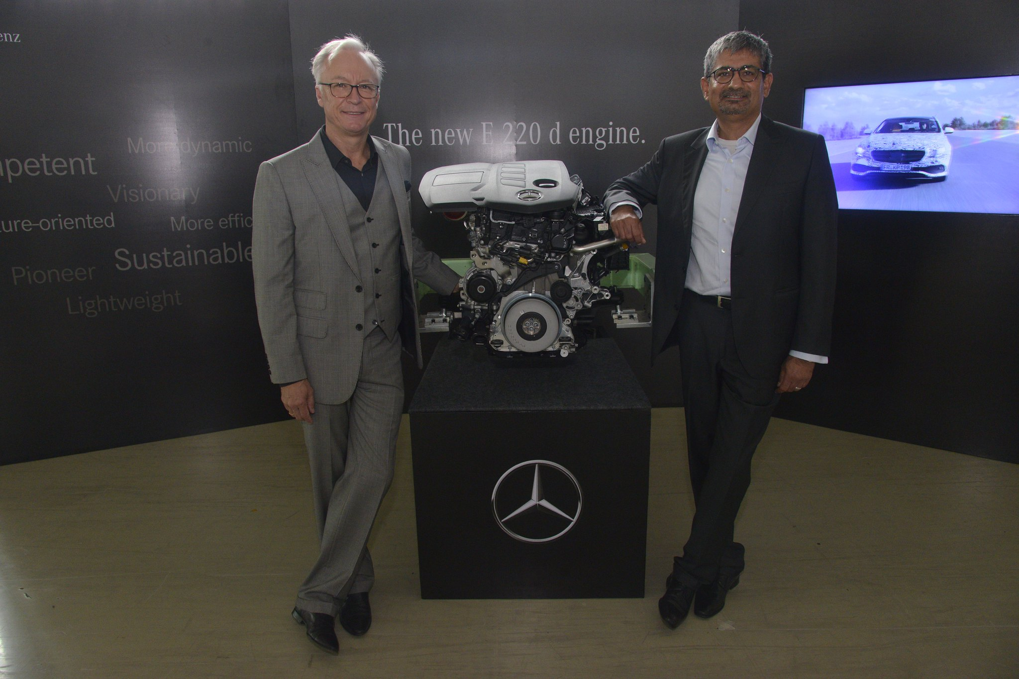 Photo 1 L-R Mr. Piyush Arora, Executive Director-Operations, Mercedes-Benz India and Mr. Roland Folger, MD & CEO, Mercedes-Benz India at the launch of 'Made in India' LWB the new E-Class 220 d at Chakan, Pune