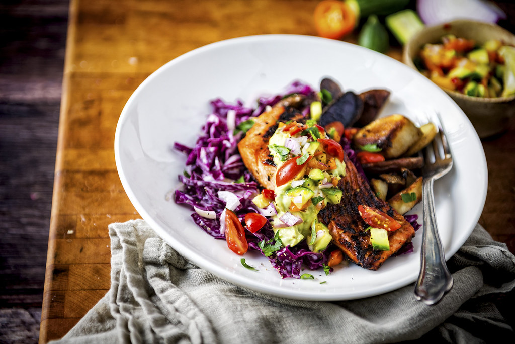 Cast-Ironed Blackened Salmon with Cucumber Mango Relish and Avocado Cream | GirlCarnivore Recipe