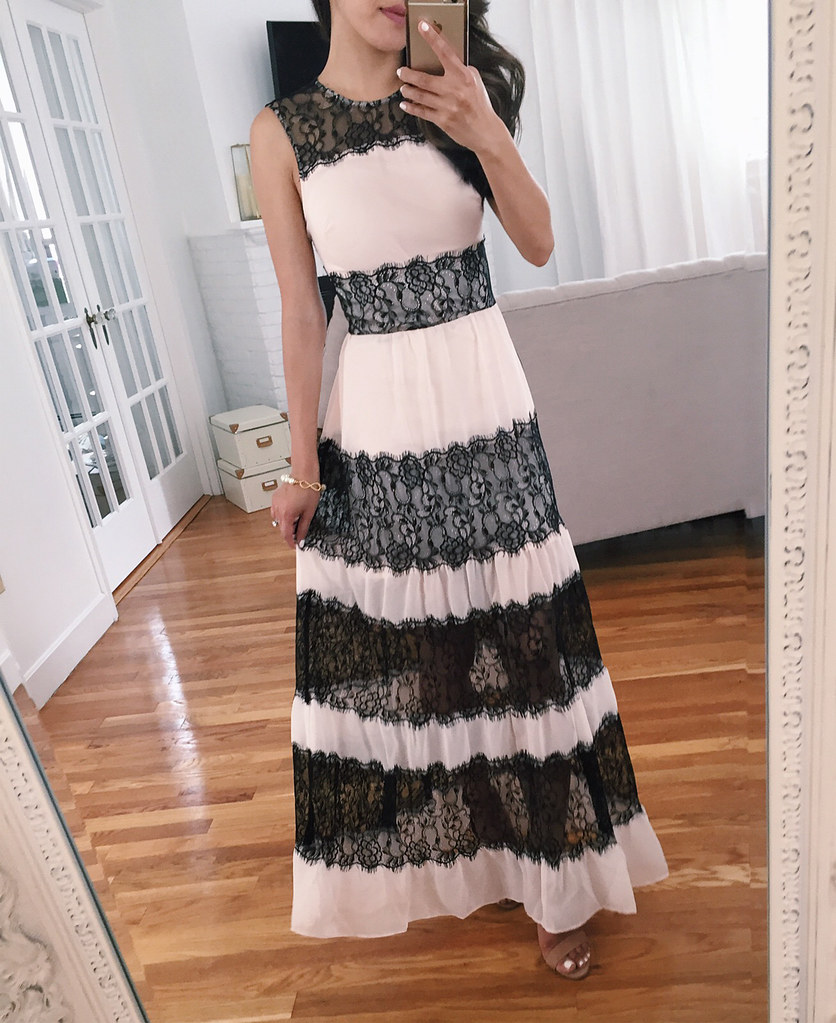 pink black lace maxi dress for petite women wedding guest outfit