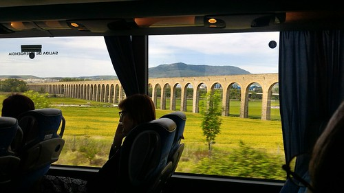 Aqueduct seen on the train to Zaragoza, Spain