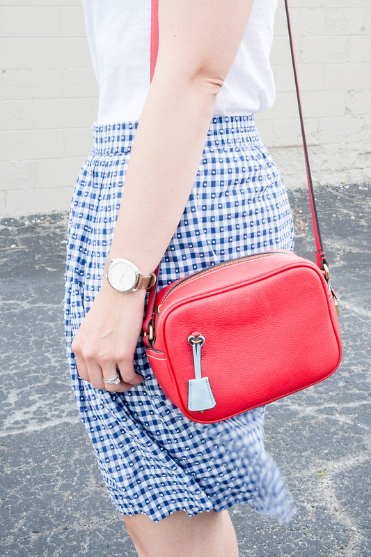 blue J.Crew gingham skirt + white tee + red crossbody purse; fourth of july outfit summer | Style On Target blog