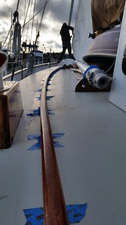 handrail varnish and staysail hoist | by Sailing P & G