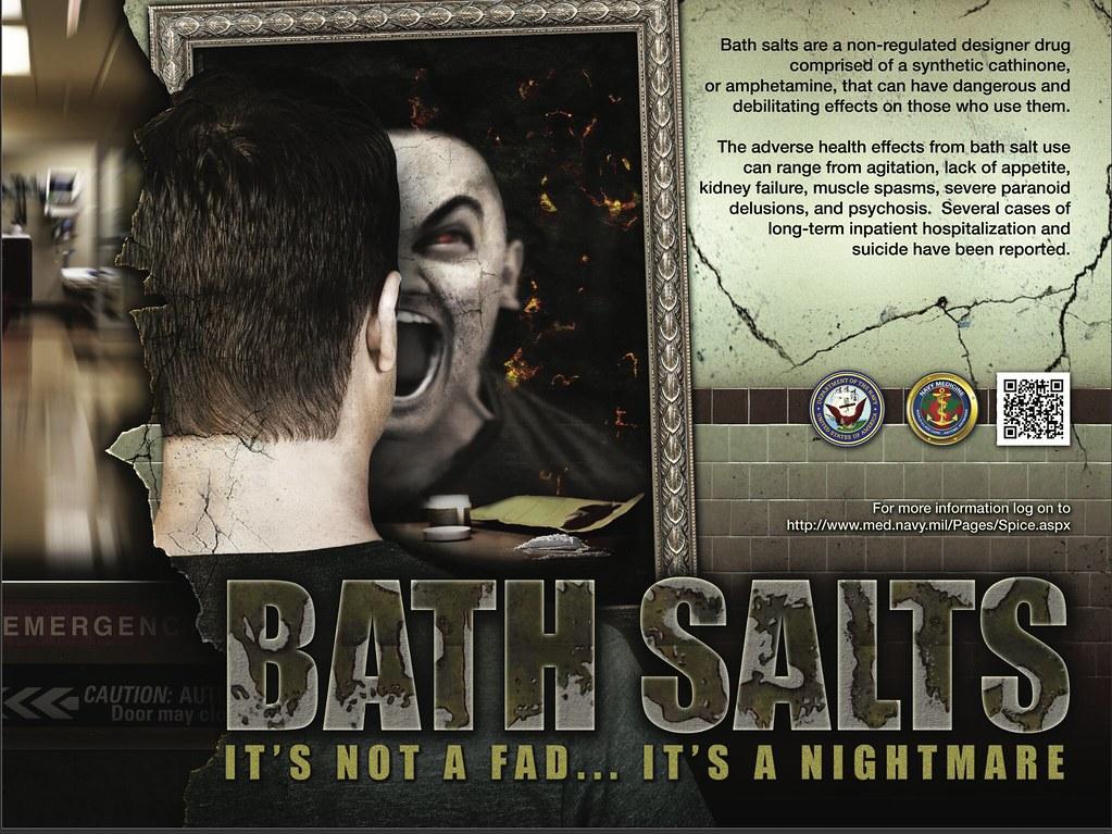 負責控管海軍從事人員健康狀態的海軍醫學(Navy Medicine)推出的反毒宣導,便運用了攝人的「活死人」形象來對「禁用浴鹽」進行倡導。(圖片來源:www.med.navy.mil)