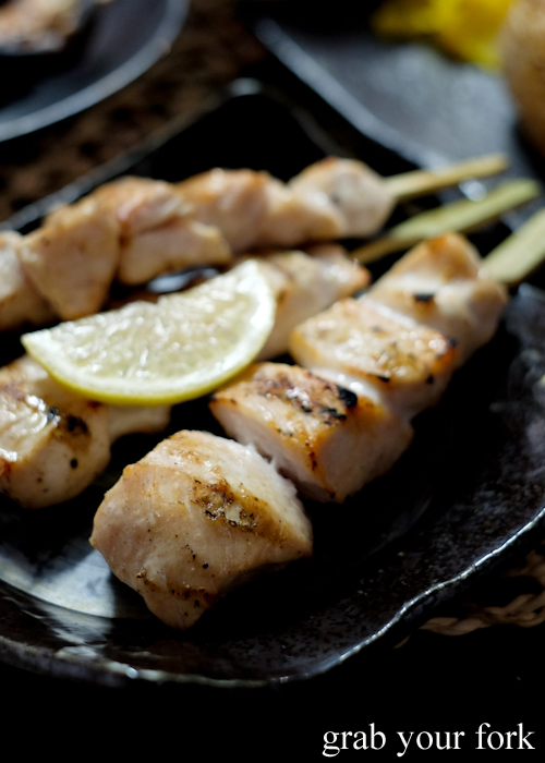 Mune chicken breast skewers with salt at Yakitori Jin Japanese restaurant in Haberfield Sydney