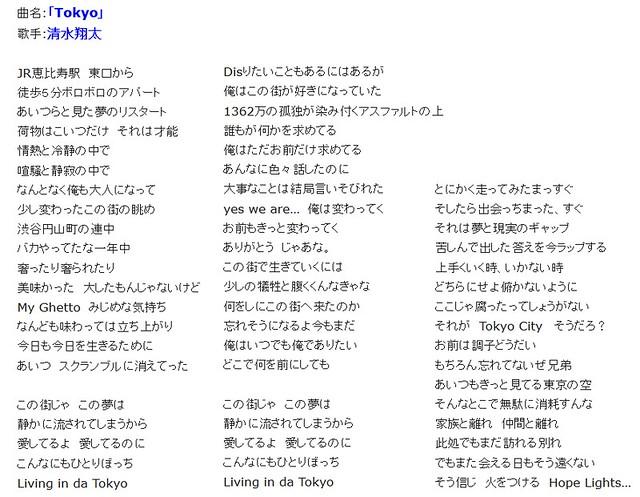 清水翔太「Tokyo」の歌詞