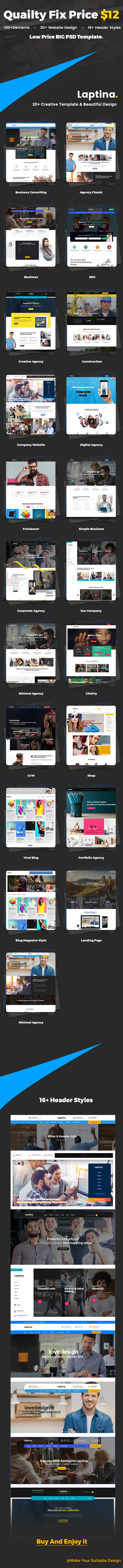 Laptina - Multi-Purpose Business & Financial Professional, Consulting  PSD Template - 1