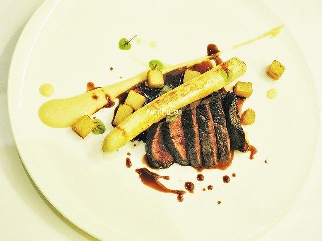 Beef Tenderloin With Foie Gras, Marsala, And White Asparagus