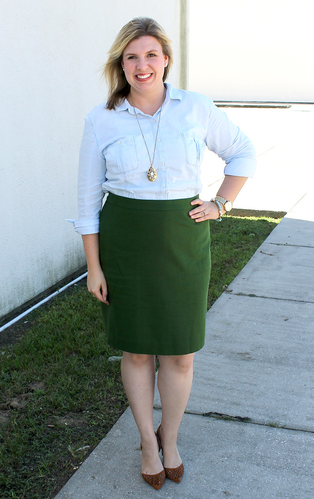 chambray skirt and green pencil skirt 1