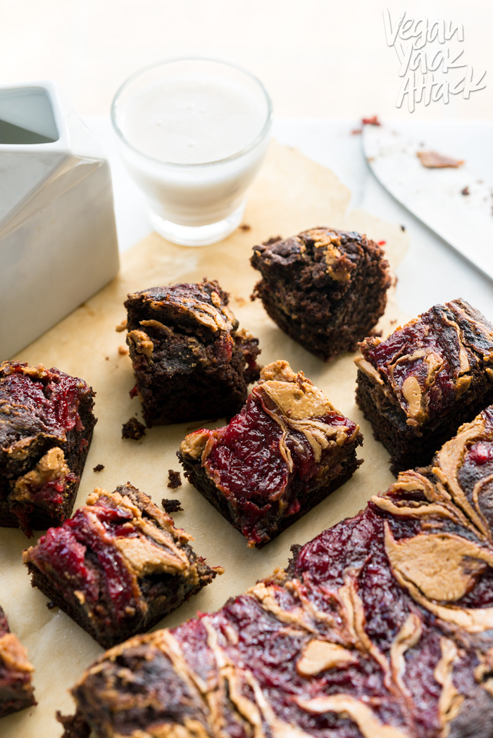 Need a gooey, decadent dessert? Peanut Butter Jelly Brownies to the rescue! Plus, they're vegan & soy-free
