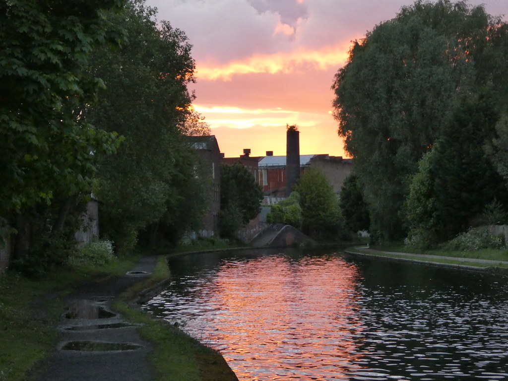 Sunset over one of Birmingham's canals