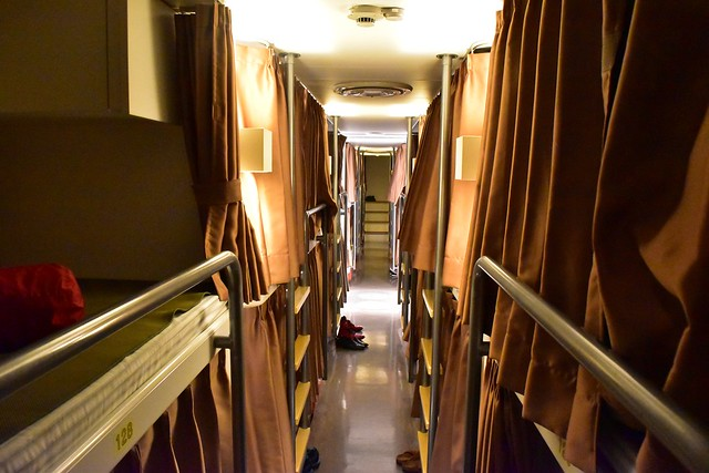 橘丸 特二等船室の二段ベッド(通路)