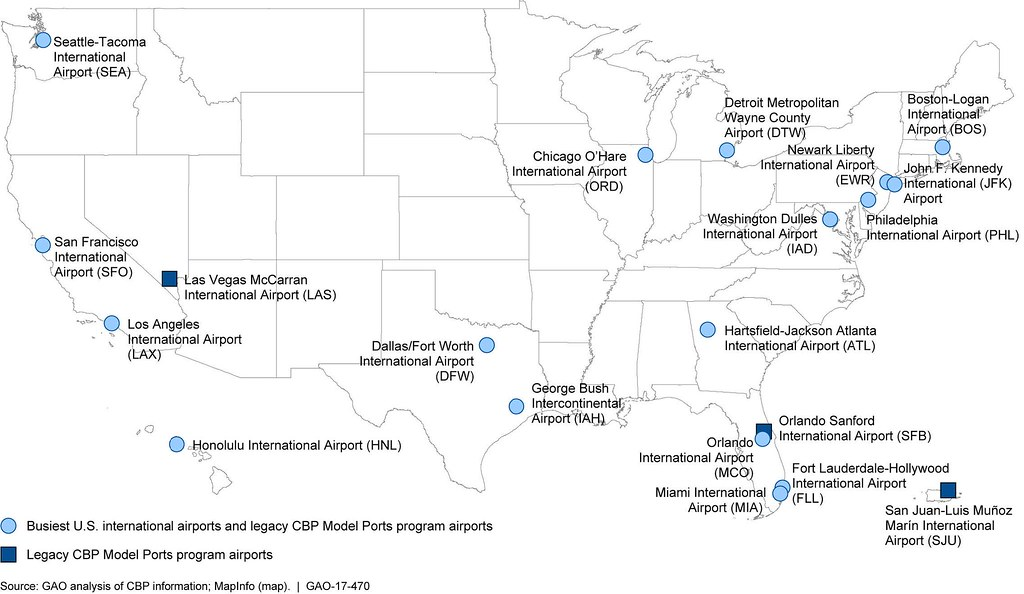 Figure Map Of The Busiest US International Airport Flickr - Us 17 map