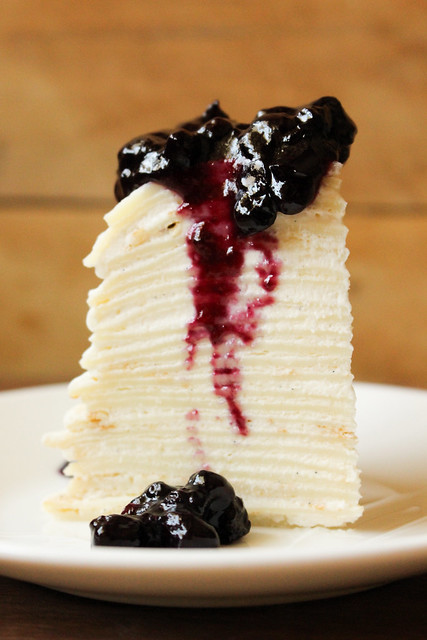 Vanilla Mille Crêpe Cake with Blueberry Sauce