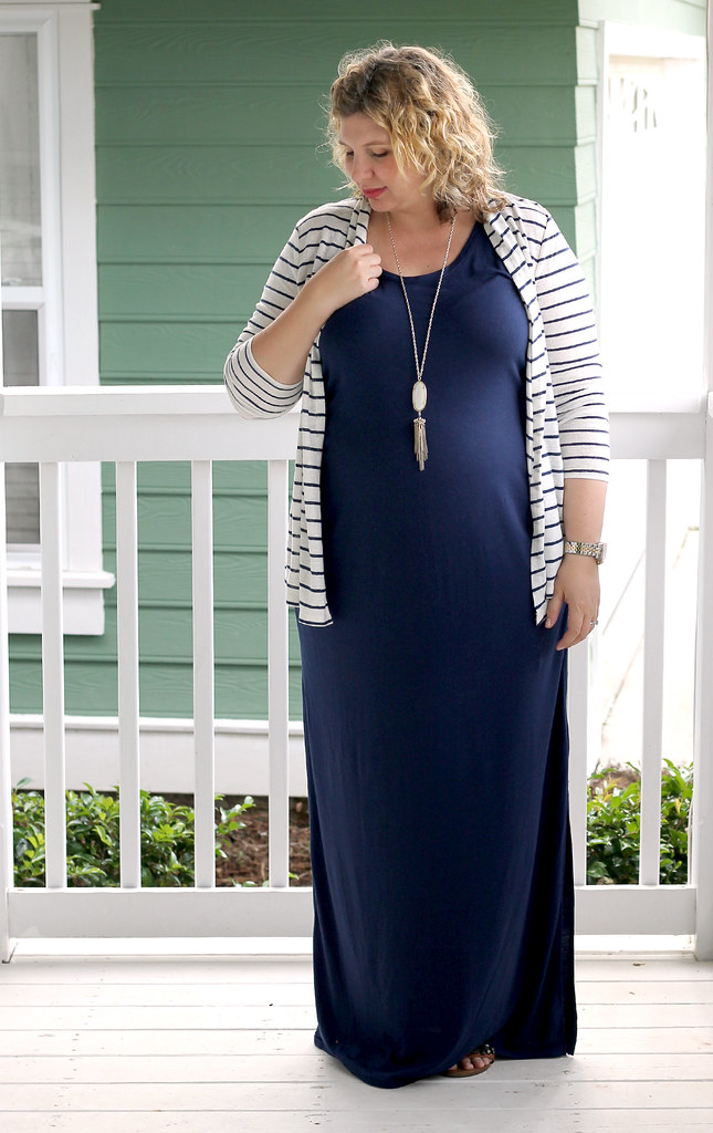 navy maternity maxi dress and white and navy striped cardigan 7