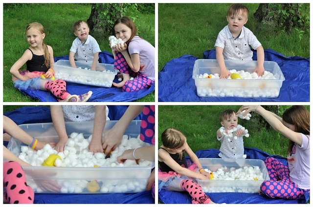 Rubber Ducks and Cotton Ball Bubbles Sensory Bin