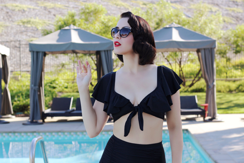 Unique Vintage Black Ruffled Cap Sleeve Frida Swim Top All Black Monroe High Waist Bikini Bottom