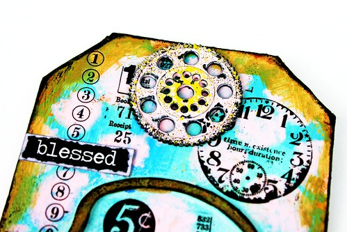 Meihsia Liu Simply Paper Crafts Mixed Media Tag Circle Clock Simon Says Stamp Tim Holtz 2