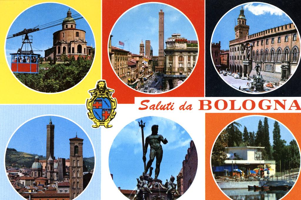 Ancienne carte postale de Bologne, toute en couleurs et hublots.