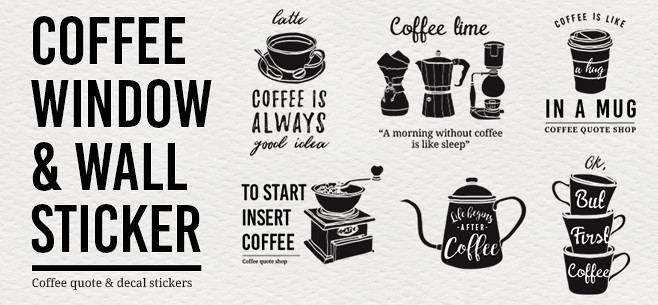 Simple Coffee Window and Wall Stickers Banner