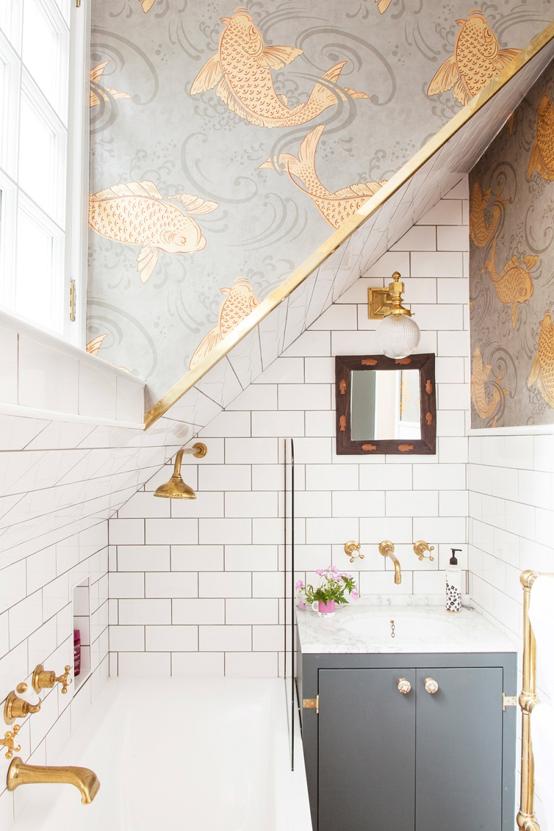 The 15 Best Tiled Bathrooms on Pinterest Small Bathroom Decor White Subway Tile Gold Fish Wallpaper