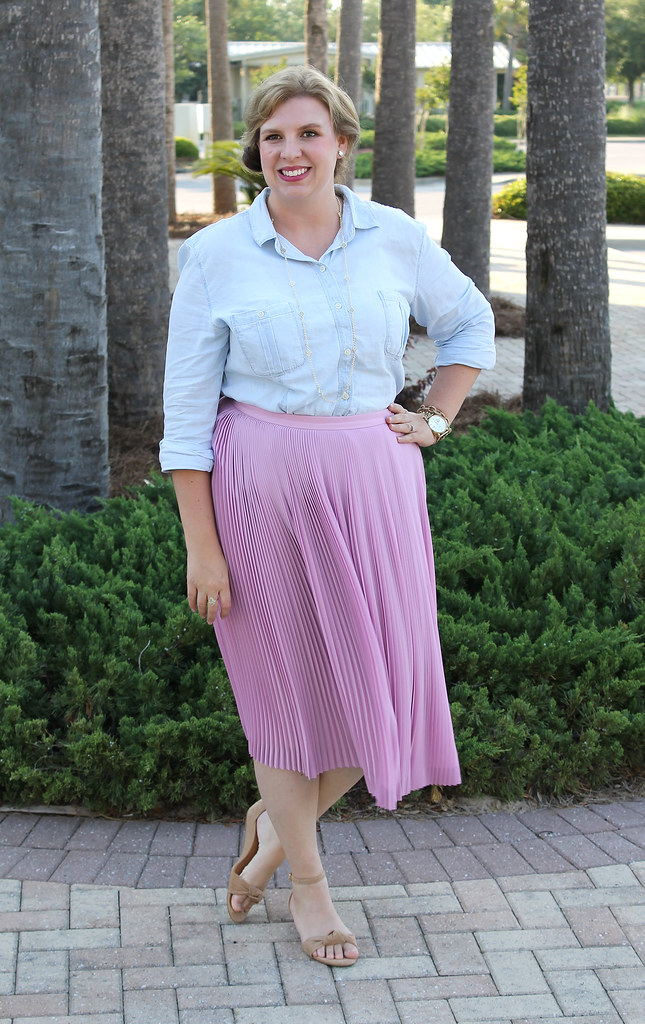 pink pleated midi and a chambray shirt 5