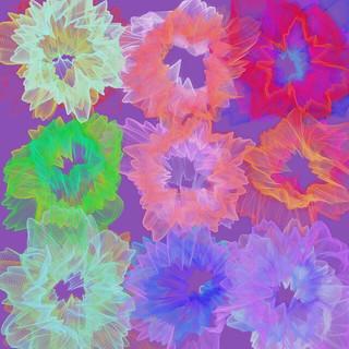 JS_Art_SS_(2017_05_25)_1_Cropped_1 HTML5インタラクティヴ ジェネレーティヴ ディジタル アートのスクリーンショット画像。 紫色の背景の上に、9つの色とりどりの揺らめく多数の円環状の模様が描かれている。