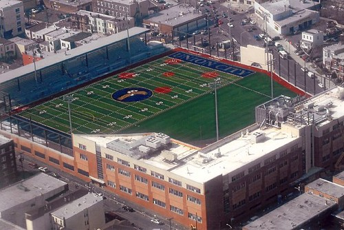 The football stadium is on the roof of Union City High School, New Jersey