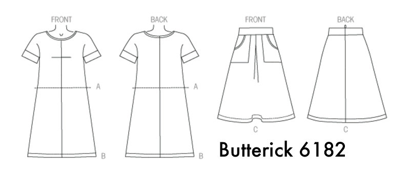 B6182 dress skirt line drawing